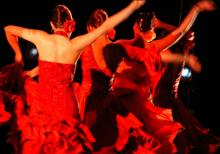 Flamenco dancers in red
