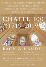 Bach and Handel 'Chapel 300' Celebratory Concert at Queen's College