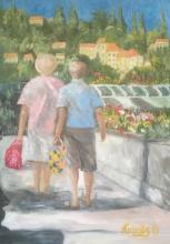 Market Day, Beaulieu-sur-Mer, oil on canvas, 60x45, 2019