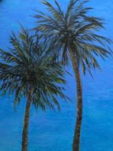 Two palm trees, Beaulieu-sur-Mer, oil on canvas, 60x45cm