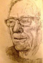 Bill watching TV pencil sketch
