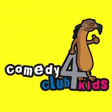 Comedy Club 4 Kids logo against bright yellow background