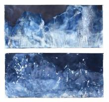 Meghann Riepenhoff, Littoral Drift #417, Dynamic Cyanotype, 106.7 x 246.4 cm, Image Copyright of the Artist Courtesy of Yossi Milo Gallery