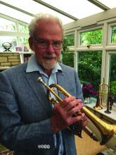 John King with trumpet