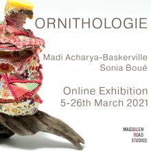Exhibition flyer, Ornithologie, birds, found objects, drift wood, plastic, litter, fabric
