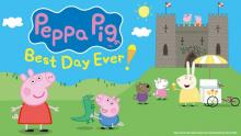 A cartoon image of Peppa Pig and George stood in front of a castle. Mummy Rabbit hands out ice creams in the background