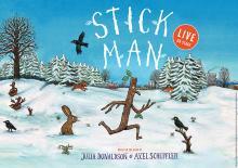 Cartoon image of Stick Man running through the snow