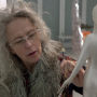 Still of the artist Kiki Smith working on a sculpture. Taken from a documentary by Claudia Müller called Kiki Smith: Work made in 2015.