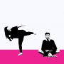 One person aims a stylised kick at another person sat on the floor